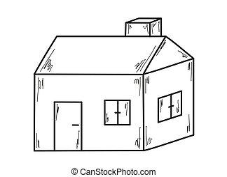 bosquejo, de, el, casa pequeña