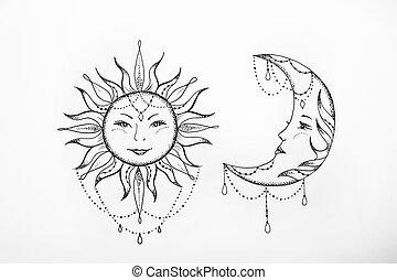 Bosquejo De Tatuaje Arte Sol Y Luna Clipart And Stock Illustrations