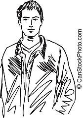 bosquejo, de, guapo, man., vector, ilustración