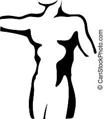 bosquejo, de, hombre, torso