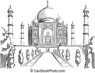 bosquejo, de, india, señal, taj mahal