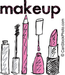 bosquejo, de, maquillaje, products., vector, ilustración