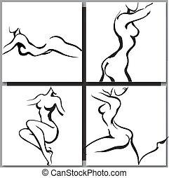 bosquejo, de, mujer, torso