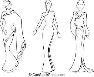 bosquejo, de, mujeres, en, tradicional, asiático, vestidos