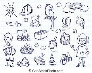 bosquejo, de, niños, dreams., mano, dibujado, niña, niño, juguetes