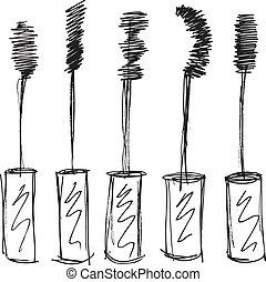 bosquejo, de, pestaña, brush., vector, ilustración