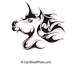 bosquejo, de, tatuaje, arte, caballo