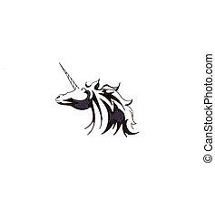 bosquejo, de, tatuaje, arte, caballo, unicornio