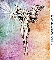bosquejo, de, tatuaje, arte, hada, ángel, mujer desnuda, encima, colorido, papel
