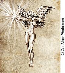 bosquejo, de, tatuaje, arte, hada, ángel, mujer desnuda