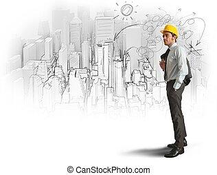 bosquejo, de, un, arquitecto