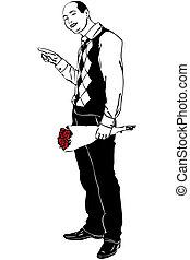 bosquejo, de, un, hombre, con, un, ramo, de, rosas rojas