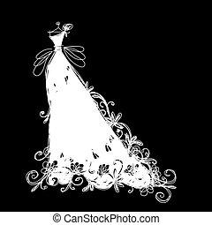 bosquejo, de, vestido de la boda, para, su, diseño