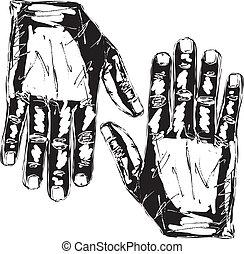 bosquejo, derecho, mano., ilustración, vector, izquierda