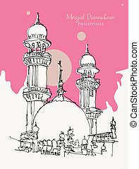 bosquejo, dibujo, rosa, mezquita, ilustración, masjid, ...