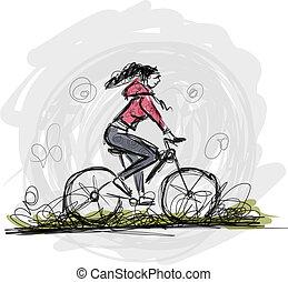 bosquejo, diseño, ciclismo, niña, su