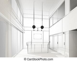 bosquejo, diseño, de, interior, recepción