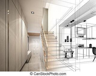 bosquejo, diseño, escalera, vestíbulo