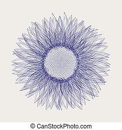 bosquejo, diseño, girasol