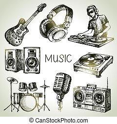 bosquejo, dj, iconos, set., mano, vector, música,...
