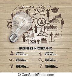 bosquejo, empresa / negocio, infographics