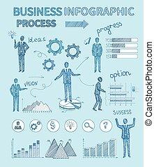 bosquejo, empresarios, infographics