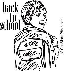 bosquejo, escuela, ilustración, sonreír., vector, niño