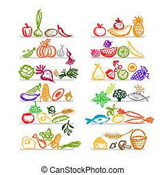 bosquejo, estantes, alimento sano, diseño, su