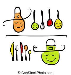 bosquejo, estantes, dibujo, utensilios, diseño, caracteres, su, cocina