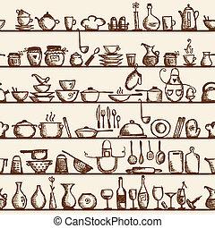 bosquejo, estantes, patrón, seamless, utensilios, cocina