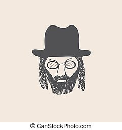 bosquejo, estilo, largo, hat., hombre, barba