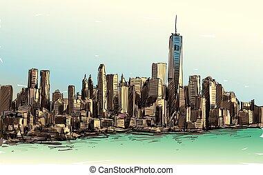 bosquejo, exposición, rascacielos, ilustración, centro de la...