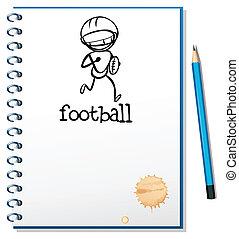 bosquejo, fútbol, atleta, cuaderno