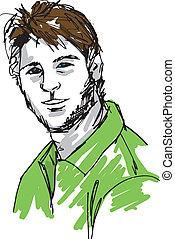 bosquejo, face., ilustración, vector, guapo, hombre