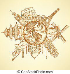 bosquejo, famoso, edificios, alrededor, tierra de planeta