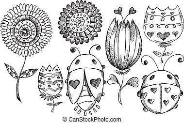Bosquejo, flor, garabato, Conjunto, primavera, bicho