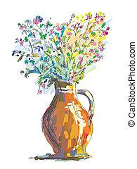 bosquejo, flor, gretting, ilustración, florero, tarjeta