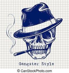 bosquejo, gángster, cráneo