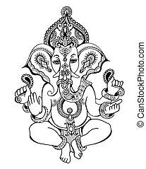 bosquejo, ganesha, hindú, dibujo, florido, señor, yoga,...