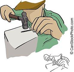 bosquejo, garabato, marca, líneas, aislado, ilustración, mano, clavo, primer plano, vector, fondo negro, utilizar, dibujado, blanco, martillo, derecho, hombre