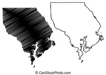 bosquejo, garabato, unido, (u.s., estados, condado, estados unidos de américa, harford, ilustración, vector, u..s.., us), mapa, maryland, américa