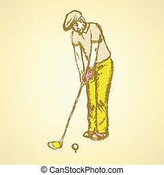 bosquejo, golfista