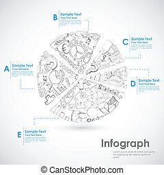 bosquejo, gráfico circular