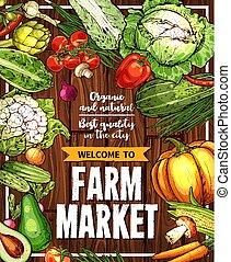 bosquejo, granja, cartel, vegetales, vector, mercado