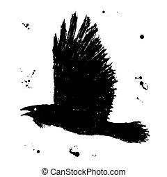 bosquejo, grunge, raven., fliyng, mano, tinta negra, dibujado, pájaro