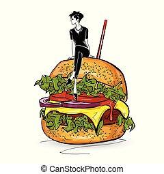 bosquejo, hamburguesa, estilo, fondo., elegante, blanco, ...