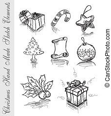 bosquejo, hecho, mano, elementos, diseño, navidad