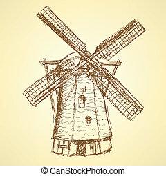 bosquejo, holand, molino de viento, vector, vendimia, plano...