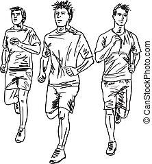 bosquejo, hombres, runners., ilustración, vector, maratón