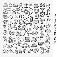 bosquejo, hotel, iconos